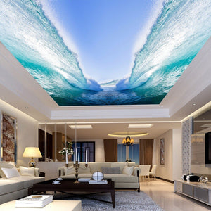 Custom Any Size 3D Wall Mural Wallpaper Seawater Huge Waves Bedroom Living Room Sky Suspended Ceiling Decor Painting Wallpaper - WallpaperUniversity