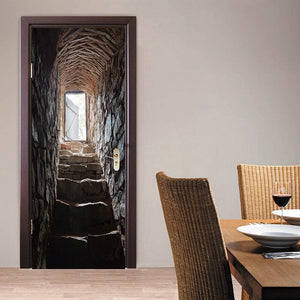 3D Stereoscopic Stone Staircase Door Stickers Mural Wallpaper Home Decor European Creative DIY Self-adhesive PVC Mural Sticker - WallpaperUniversity