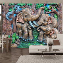 Load image into Gallery viewer, Custom Photo Mural Wallpaper Art Abstract Wall Painting 3D Stereoscopic Forest Elephant Background Wall Decor Murals Wallpaper - WallpaperUniversity