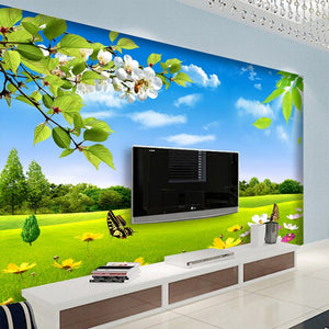 Custom Any Size 3D Photo Mural Wallpaper Blue Sky White Meadow Flower Nature Beauty Living Room Sofa Background Mural Wallpaper - WallpaperUniversity