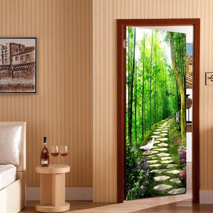 Bamboo Forest Small Road 3D DIY Mural Bedroom Door Stickers Wall Papers Home Decor Modern Wall Painting Vinyl Wallpaper Murals - WallpaperUniversity