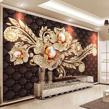 Load image into Gallery viewer, Custom Mural Wallpaper Black Jewel Diamond Pearl Flower European Style Living Room Bedroom TV Background Wall Painting Pictures - WallpaperUniversity