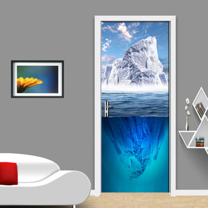 Blue Sky White Clouds Snow Mountain Nature Landscape 3D Photo Wallpaper Living room Bedroom Door Sticker PVC Waterproof Mural - vouswall.com