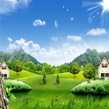 Load image into Gallery viewer, Custom 3D Photo Wallpaper Blue Sky White Clouds Village House Nature Landscape Murals Non-woven Straw Texture Mural Wallpaper 3D - WallpaperUniversity