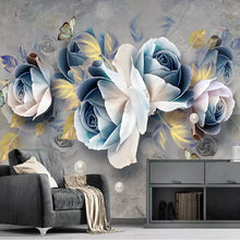 Load image into Gallery viewer, Custom Mural Wallpaper 3D Stereo Embossed Rose Flowers Murals European Retro Living Room TV Background Wall Decoration Painting - WallpaperUniversity