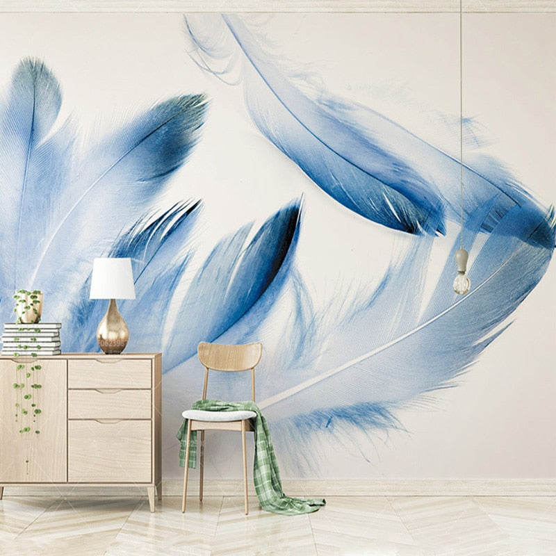 Custom High-end Mural Blue Feather Modern Minimalistic North Europe Wallpaper Living Room Background Photo Wallpaper Home Decor - WallpaperUniversity