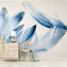Load image into Gallery viewer, Custom High-end Mural Blue Feather Modern Minimalistic North Europe Wallpaper Living Room Background Photo Wallpaper Home Decor - WallpaperUniversity