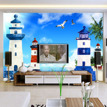 Load image into Gallery viewer, Custom Photo Mural Mediterranean Style Blue Sky White Clouds Lighthouse Living Room TV Backdrop Decorative Pictures Wallpaper 3D - WallpaperUniversity