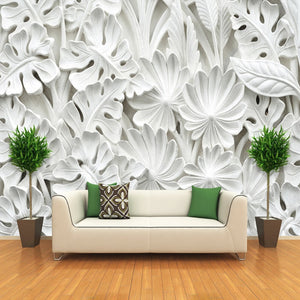 3D Stereoscopic Leaf Pattern Plaster Relief Mural Wall Paper Living Room TV Background Wall Painting Wallpaper Home Decoration - WallpaperUniversity