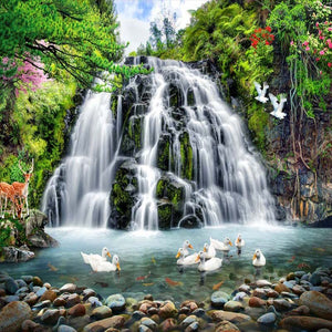 Mountain Water Landscape Running Water Waterfall Wall Mural Custom 3D Photo Wallpaper Living Room Background Decor Wall Painting - WallpaperUniversity