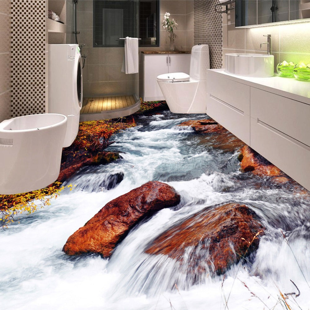 Custom 3D Floor Wallpaper Bathroom Toilet Bedroom PVC Floor Sticker Decor Waterproof Self-adhesive Vinyl Wallpaper Murals 3D - WallpaperUniversity