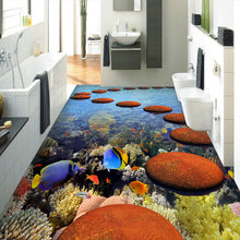 Load image into Gallery viewer, 3D Floor Sticker Mural Vinyl Wallpaper Home Decor Coral Tropical Fish Ocean Bathroom Floor Painting PVC Self-adhesive Wallpaper - WallpaperUniversity