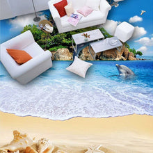Load image into Gallery viewer, Custom 3D Wall Murals Wallpaper Sea Island Dolphin Beach Scenery PVC Vinyl Flooring Waterproof Self-adhesive Mural Sticker Paper - WallpaperUniversity