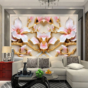 Custom Wall Mural Wallpaper For Walls Roll 3D Relief Flower TV Background Wall Papers Home Decor Living Room Modern Art Painting - WallpaperUniversity