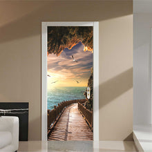 Load image into Gallery viewer, Cave Wooden Bridge Sunrise Seascape 3D Door Sticker Mural Wallpaper Living Room Bedroom PVC Waterproof Door Stickers Home Decor - WallpaperUniversity