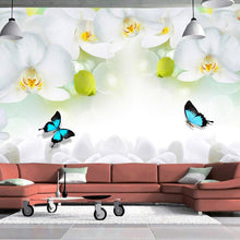 Load image into Gallery viewer, Custom 3D Mural Wallpaper Modern White Orchid Non-woven Wallpaper Printed Living Room Sofa TV Background Wall Covering Paper - WallpaperUniversity