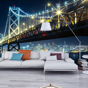Custom 3D Wall Mural Wallpaper City Bridge At Night View Living Room Bedroom Sofa TV Backdrop Wallpaper Home Decoration Wall Art - WallpaperUniversity