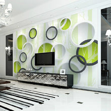 Load image into Gallery viewer, Custom 3D Mural Wallpaper Modern European Living Room TV Background Non-woven Wallpaper Wall Covering Murals Geometric Circles - WallpaperUniversity