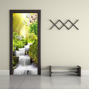 Waterfall Landscape Door Sticker Wall Papers Home Decor Modern Bedroom Living Room Decor Poster PVC Waterproof Decal Wallpaper - WallpaperUniversity