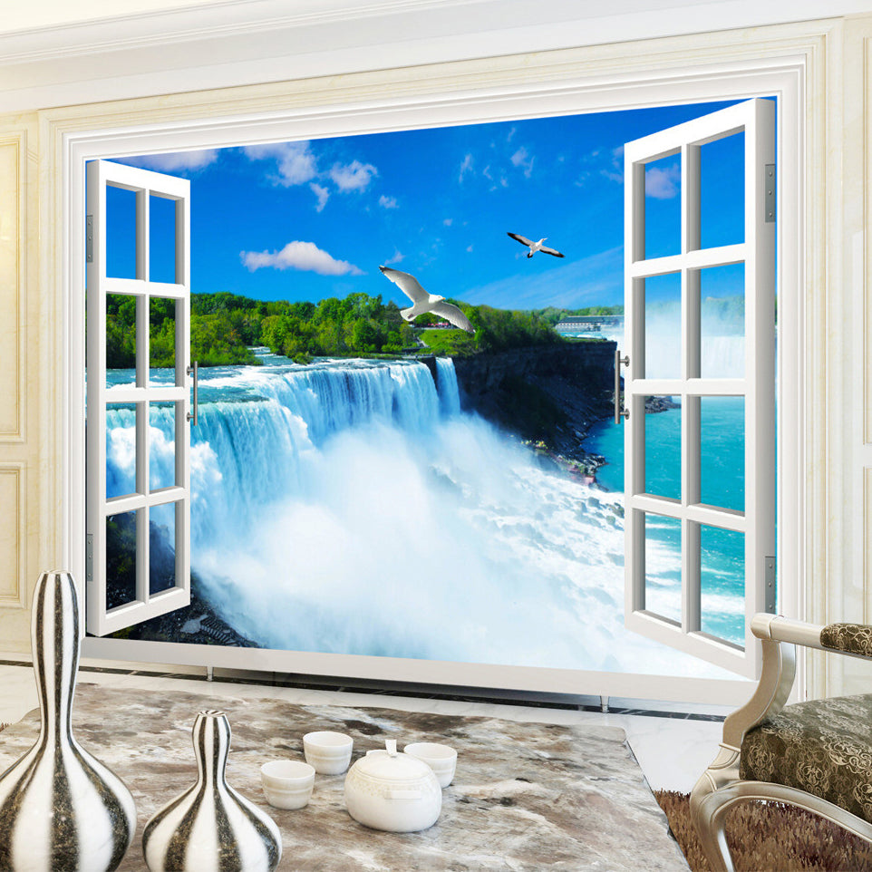 Custom Photo Wall Paper 3D Stereoscopic Window Waterfall Living Room Bedroom Background Wallpaper For Walls Mural De Parede 3D - WallpaperUniversity