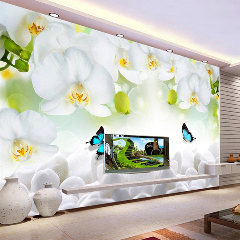 Custom 3D Mural Wallpaper Modern White Orchid Non-woven Wallpaper Printed Living Room Sofa TV Background Wall Covering Paper - WallpaperUniversity
