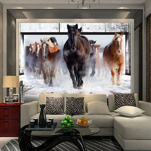 Custom 3D Non-woven Large Mural Wallpaper Living Room Bedroom TV Sofa Background Straw Wallpaper Wall Covering Galloping Horse - WallpaperUniversity