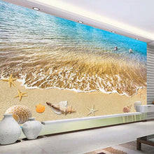 Load image into Gallery viewer, Summer Beach Shells And Starfish Bathroom Living Room Self-adhesive 3D Floor Painting Custom Floor Mural 3D Photo Wallpaper - WallpaperUniversity