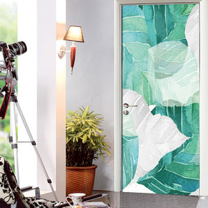 Leaf Fresh Leaves Nordic Modern Living Room Door Decoration Sticker Mural PVC Self-Adhesive Three-Dimensional Photo 3D Wallpaper -