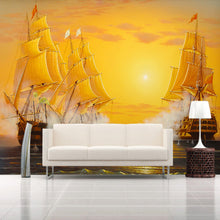 Load image into Gallery viewer, Custom 3D Mural Wallpaper Oil Painting Sailboat Smooth Sailing TV Backdrop Decoratives Picture Modern Wallpaper For Living Room - WallpaperUniversity
