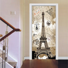 Load image into Gallery viewer, 3D Door Sticker Livingroom Bedroom Wall Decoration Paris Eiffel Tower PVC Waterproof Self Adhesive Door Stickers Wallpaper Mural - WallpaperUniversity