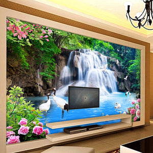 Custom 3D Wall Mural Wallpaper Mountain Water Waterfall Scenery 3D TV Background Wall Decorations Living Room Photo Wallpaper - WallpaperUniversity