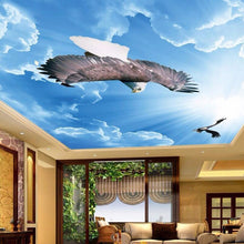 Load image into Gallery viewer, Customized Any Size 3D Mural Wallpaper Blue Sky Eagle Ceiling Art Mural Living Room Study Bedroom Ceiling Wallpaper De Parede 3D - WallpaperUniversity