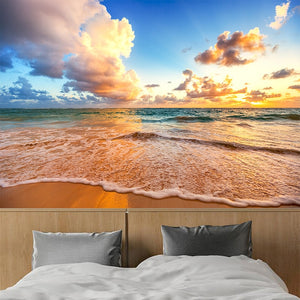 Custom Photo Mural Wallpaper 3D HD Beautiful Sky Beach Waves Landscape Mural Living Room Bedroom Background Wall Painting Decor - WallpaperUniversity