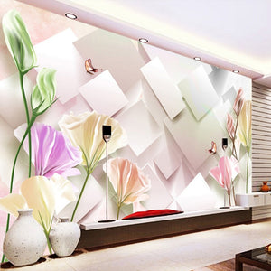 Custom Mural Wallpaper Modern Fashion 3D Stereoscopic Tulip Flower Mural Living Room Bedroom TV Background Wall Painting Paper - WallpaperUniversity