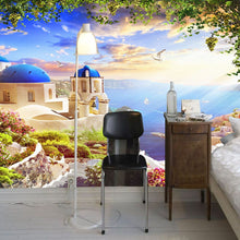 Load image into Gallery viewer, Custom 3D Photo Wallpaper Aegean Romantic Castle Ocean Seagull Ship Wall Mural Living Room Wall Decoration Home Wallpaper Modern - WallpaperUniversity
