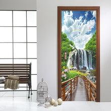 Load image into Gallery viewer, Bridge Water Waterfall Natural Scenery Mural PVC Mural Sticker DIY Living Room Bedroom Door Wallpaper Home Decoration Modern 3D - WallpaperUniversity