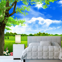 Load image into Gallery viewer, Custom 3D Mural Wallpaper Blue Sky White Cloud Tree Scenery Living Room TV Sofa Background Non-Woven Straw Wallpaper Decor Mural - WallpaperUniversity