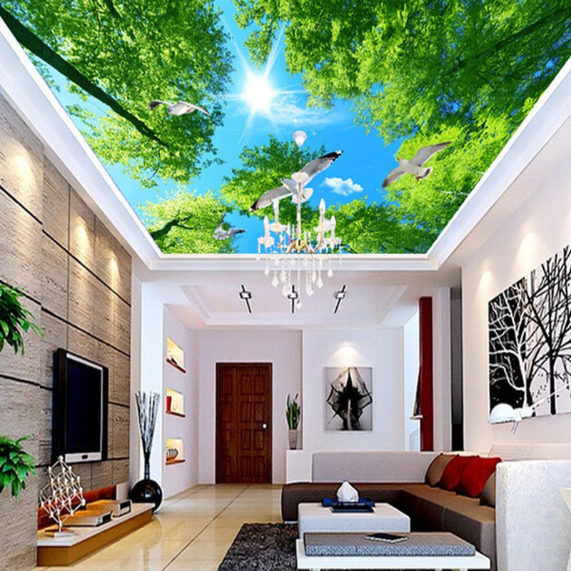 High Quality Custom Mural Wallpaper Green Forest Sky Pigeon Ceiling Zenith Mural Living Room Background Ceiling Wallpaper Wall - WallpaperUniversity