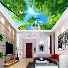 Load image into Gallery viewer, High Quality Custom Mural Wallpaper Green Forest Sky Pigeon Ceiling Zenith Mural Living Room Background Ceiling Wallpaper Wall - WallpaperUniversity