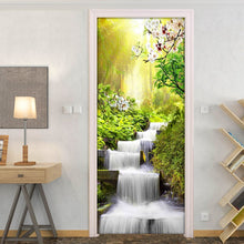 Load image into Gallery viewer, Waterfall Landscape Door Sticker Wall Papers Home Decor Modern Bedroom Living Room Decor Poster PVC Waterproof Decal Wallpaper - WallpaperUniversity