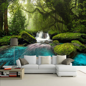 FOREST WATERFALL Wall Mural - vouswall.com