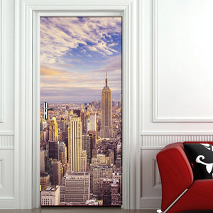 City Building Photo Mural Door Sticker Modern Living Room Bedroom Door Decoration 3D Wallpaper PVC Self-adhesive Papel De Parede - WallpaperUniversity