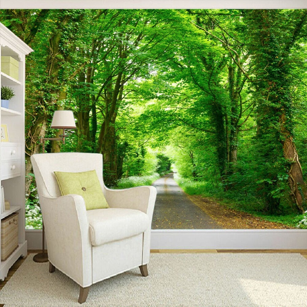 Custom Mural Painting Forest Green Trail TV Background Wall Decorative Painting Living Room Study Bedroom Wallpaper Home Decor - WallpaperUniversity