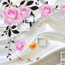 Load image into Gallery viewer, Custom Photo Wallpaper For Bedroom Walls 3D Silk Cloth Living Room TV Background Wall Home Decor Rose Flower Mural Wallpaper - WallpaperUniversity
