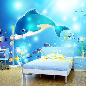 Custom Photo Wallpaper Modern Underwater World Dolphin Children's Room Bedroom Non-woven Wall Mural Paintings Wallpaper Prints - WallpaperUniversity