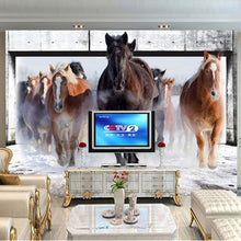 Load image into Gallery viewer, Custom 3D Non-woven Large Mural Wallpaper Living Room Bedroom TV Sofa Background Straw Wallpaper Wall Covering Galloping Horse - WallpaperUniversity