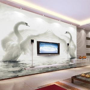 Custom 3D Wall Mural Wallpaper Roll Romantic Swan Living Room Bedroom TV Background Home Decor Non-woven Wallpaper Wall Painting - WallpaperUniversity