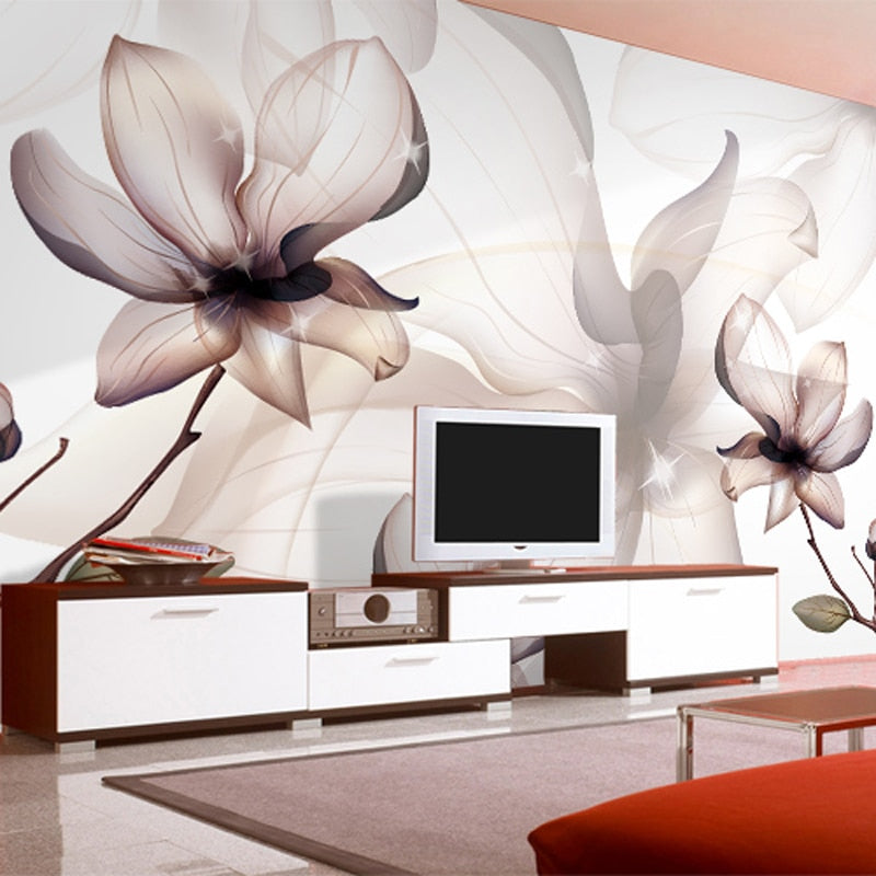 Custom 3D Photo Wallpaper Non-woven Magnolia Flower Large Wall Painting Bedroom Living Room TV Background Wall Murals Wallpaper - WallpaperUniversity