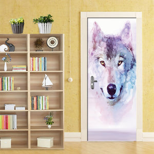 Modern Minimalist Abstract Snow Wolf Living Room Bedroom Door Mural PVC Waterproof Self-adhesive Fresco Sticker 3D Wallpaper - WallpaperUniversity