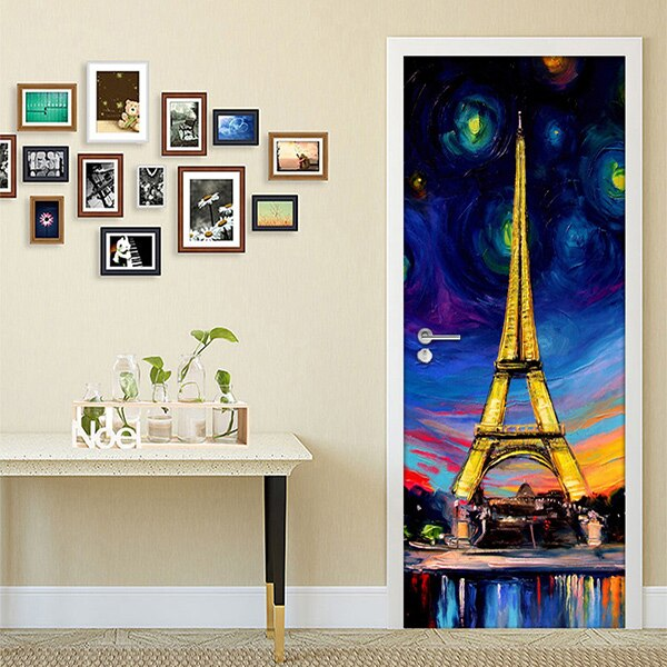Hand Painted Oil Painting Paris Tower 3D PVC Self-adhesive Door Stickers Wallpaper Home Decor Living Room Study Door Sticker Art -